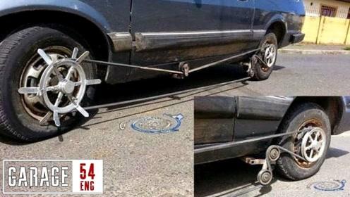 老外将汽车改装成四驱驱动轮胎,汽车马力立马飙升!