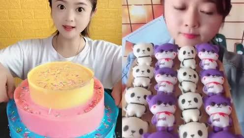 美女吃梦幻色爆浆蛋糕、小熊猫巧克力!各种口味任意选