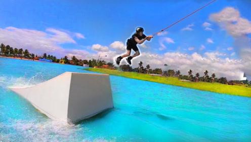 穿溜冰鞋能在水上冲浪吗?小哥亲自测试,他能成功吗?