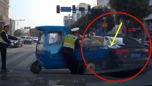 无视交通安全的三轮车,要不是视频这一切谁信!尴尬了