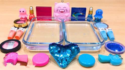 DIY史莱姆教程,蓝色亮片泥+粉红指甲油+招财猫水晶泥+化妆品