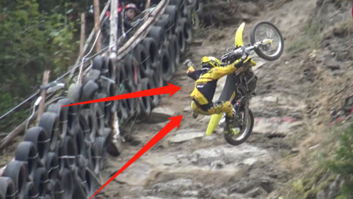 世界最难的摩托车爬坡赛,拿生命在比赛,看到第一名网友们笑了!