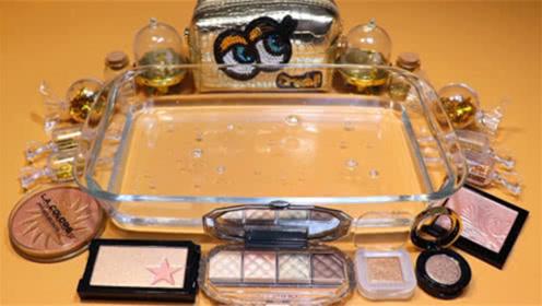 DIY史莱姆教程,透明假水泥加入金色系化妆品、闪粉、小饰品