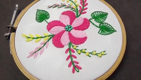 手工刺绣-简单又漂亮双色五瓣花