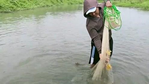 半米深的小河,不抛一网,都不知道里面鱼那么多