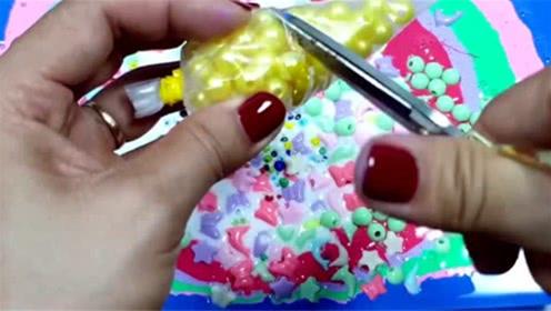 DIY史莱姆教程,裱花袋水晶泥+裱花袋珍珠豆+炫彩水晶泥,好看好玩
