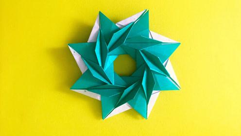 圣诞节系列的折纸树叶组合的花环!