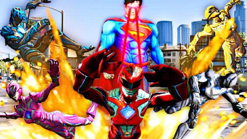 屌德斯解说 GTA5 MOD实验室 恐龙战队大战超人简直炫酷