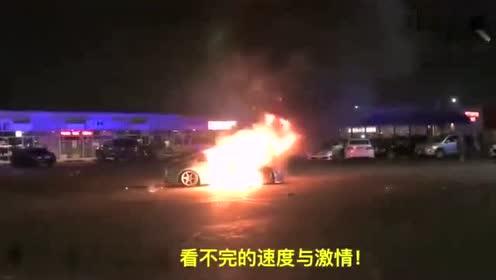 车主心碎了 日产350Z街头玩车不慎自燃