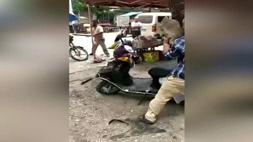 湖南邵阳俩男子街头互殴竟不打人 围观市民:难道是车子错了吗