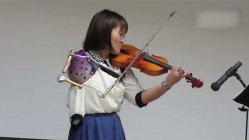 独臂女孩用义肢演奏小提琴,让人震撼又伤感!
