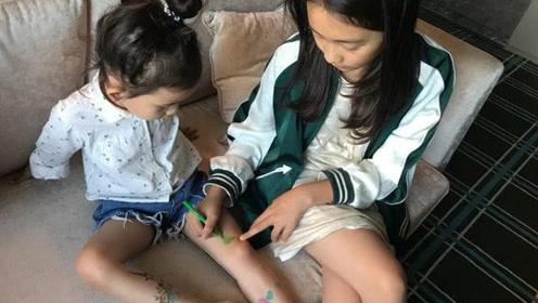 黄磊晒多多给多妹纹身合照 原来多妹的名字这么好听