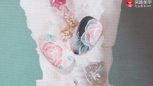海绵拓印 排笔勾线玫瑰花美甲教程