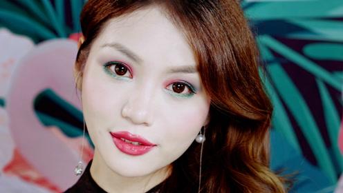 悦小舞:夏夜浮游梦 惊鸿紫+狩猎绿 戏剧感古典怀旧配色 眼妆教程
