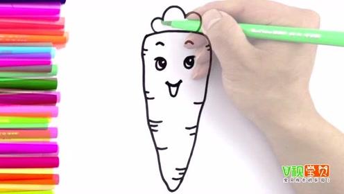 好可爱的胡萝卜卡通简笔画,为爱画画的宝宝留着啦