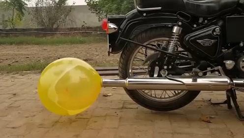 外国牛人将气球绑到摩托车排气筒上,5秒后一起见证神奇!