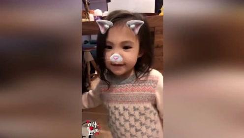 陈冠希女儿Alaia近照 用小猫特效拍视频兴奋地说着流利的英语