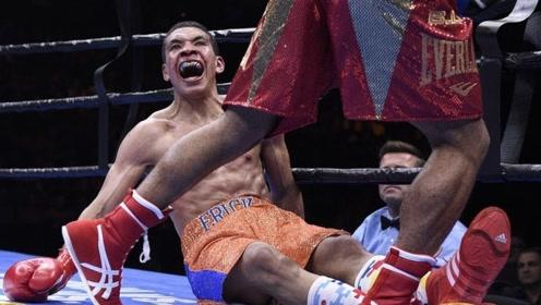 骚气拳王被痛击张嘴喘粗气!最后招架不住直接跪在拳台上