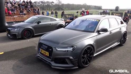 街头飙车,705匹超大马力的奥迪RS6 + ABT -听听这加速的声音