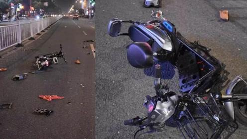 无号牌摩托与逆行电动车迎面相撞  肇事司机弃车逃逸