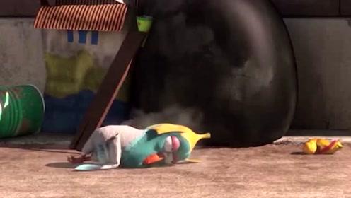 爆笑虫子:小黄拉住一根绳子,没想到是礼炮开关,礼炮炸开吓了一跳!