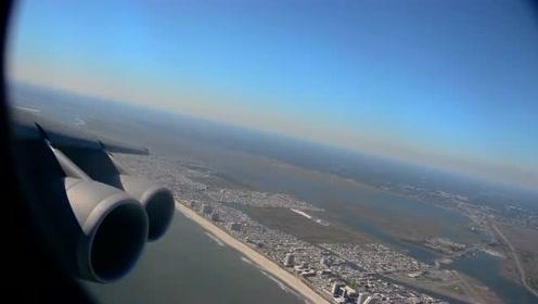 空军基地:巨大的C-5M超级银河飞机在大西洋城上空