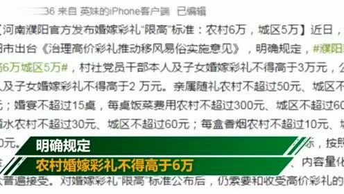 """河南濮阳发布婚嫁彩礼""""限高""""标准农村6万,城区5万"""