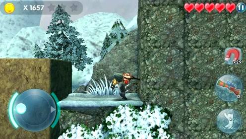 熊出没 光头强一路奔跑躲避掉落的巨石,成功登上山顶