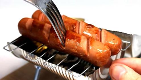 用罐头制作一个迷你烧烤架 在家就能烤香肠