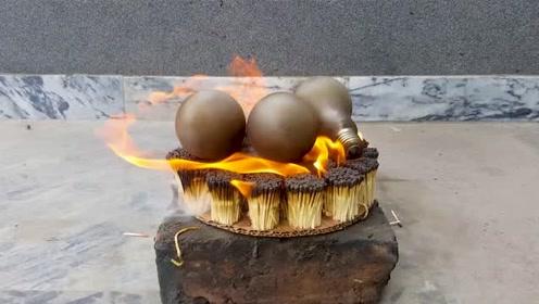把3个灯泡放在两万跟火柴上,点燃之后,灯泡会爆炸吗?