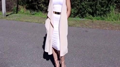 小姐姐试穿连衣裙,修饰凹凸好身材,超迷人