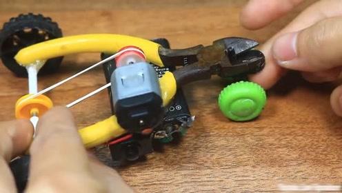 尖嘴钳大改造,摇身一变成了玩具车