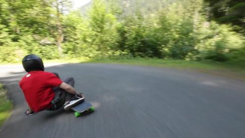 在山路上滑板各种急弯都不在话下,太刺激了