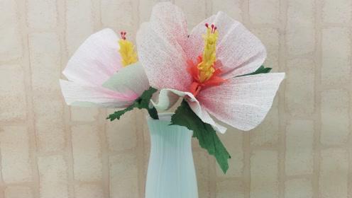 用皱纹纸制作最爱的木槿花,步骤简单又好看