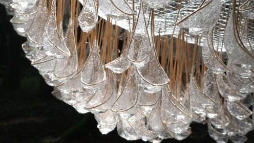 意大利的雨水收集装置吊在半空,形似吊灯,装满水可重达800磅