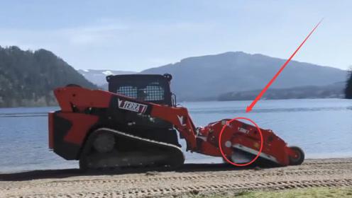 垃圾清理巨兽,一小时清完一万五千平米海滩,网友:有点秀!