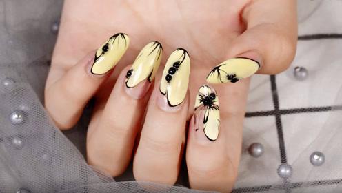 温柔优雅嫩黄蝴蝶美甲 让小蝴蝶停留在你的指尖吧