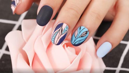 温柔蓝粉色系简洁风叶子美甲 在你的指尖造出一片花园