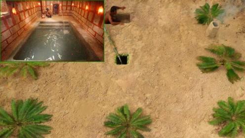 荒野求生:农村小哥深山里修建出豪华地下游泳池,这手艺太厉害了