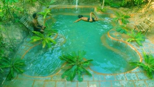 荒野求生:农村兄弟俩深山里修建出豪华大泳池,这生活太会享受了