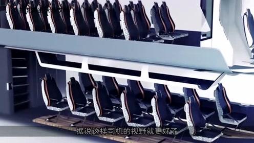 双层巴士的车门开在车头,为轮椅设计的坡道可供进出,暖心设计