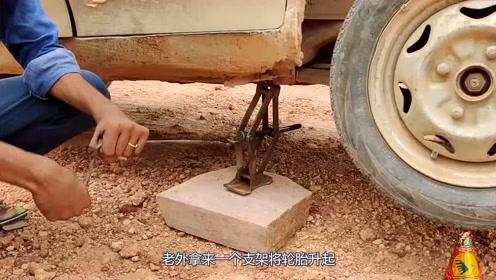 轮胎与释放的烟花亲密接触,烟花的威力太强轮胎抵制不住!