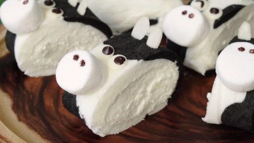 哞哞萌的奶牛瑞士卷,一口就爱上这软绵绵!