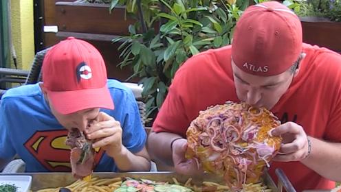 大老爹汉堡挑战,挑战不可能完成的任务,大胃王都吃吐了
