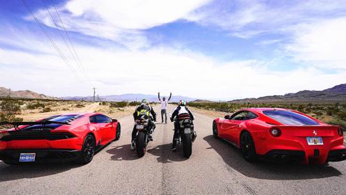 摩托车赛车手跟兰博基尼司机飙车,震撼开始了