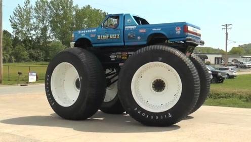 世界上最高的皮卡车,轮胎都比两个人高,再也不怕翻车了