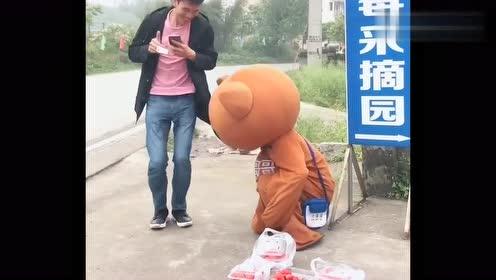 网红熊太过分了,竟这样对待小姐姐,难道不怕挨揍吗?