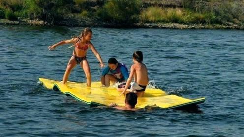 可漂浮在水上的毛毯,一个可载重600公斤,网友:这是什么操作