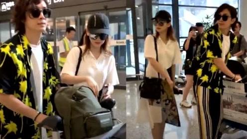 """戚薇夫妇录制节目照曝光,两人同步转身,却被""""城市裤""""抢镜了"""