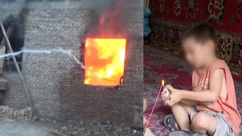 熊孩子点蚊香引燃纸盒,用枕头灭火烧了房子